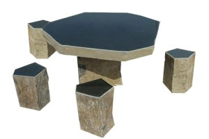 stone furniture, stone bench, stone table